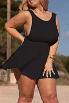 Black Sexy Solid Split Joint O Neck Cake Skirt Plus Size Dresses