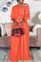 Orange Fashion Casual Solid Split Joint Off the Shoulder Half Sleeve Two Pieces
