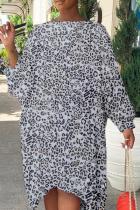 Leopard Print Casual Print Split Joint O Neck Irregular Dress Plus Size Dresses