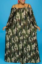 Camouflage Fashion Casual Print Without Belt Off the Shoulder Long Sleeve Plus Size Dresses