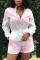 Pink Sexy Fashion Patchwork bandage Print zipper Long Sleeve Mandarin Collar Rompers