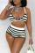 Green Sexy Striped Bandage Split Joint Swimwears