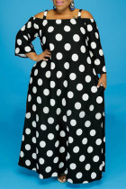 Black Fashion Casual Print Without Belt Off the Shoulder Long Sleeve Plus Size Dresses