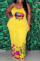 Yellow Sexy Casual Plus Size Lips Printed Backless Spaghetti Strap Long Dress