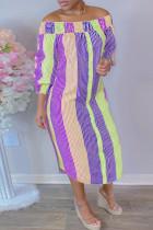 Purple Fashion Casual Striped Print Off the Shoulder Long Dress