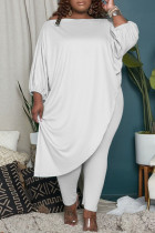 White Fashion Casual Solid Asymmetrical Oblique Collar Plus Size Two Pieces