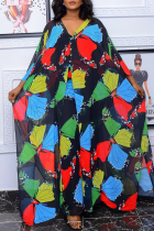 Black Casual Print Split Joint V Neck Straight Plus Size Dresses