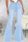 Baby Blue Casual Butterfly Print Split Joint Mid Waist Boot Cut Denim Jeans
