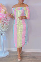 Pink Yellow Fashion Casual Striped Print Off the Shoulder Long Dress