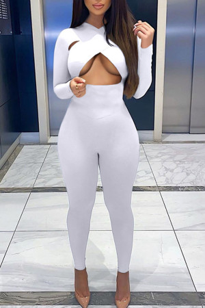 White Sexy Solid Hollowed Out Split Joint O Neck Skinny Jumpsuits