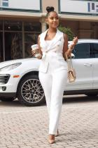 White Fashion Sexy Two Piece Suits Solid Button Slim fit Regular Sleeveless Two-piece Pants Set