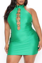 Green Sexy Solid Hollowed Out Halter Pencil Skirt Plus Size Dresses