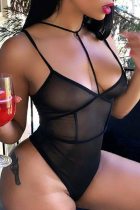 Black Sexy Patchwork Solid Mesh Lingerie