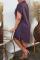 Purple Casual Solid Split Joint Turndown Collar Shirt Dress Dresses