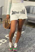 White Fashion Casual Print Basic Regular High Waist Shorts