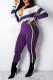 Purple Casual Solid Split Joint Turndown Collar Skinny Jumpsuits
