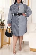Dark Gray Fashion Casual Plus Size Striped Print Without Belt Turndown Collar Shirt Dress