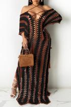 Black Fashion Pierced Split Joint See-through Slit Halter Short Sleeve Dress