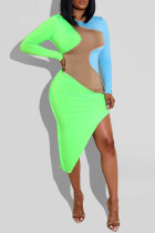 Light Green Fashion Casual Patchwork Asymmetrical O Neck Long Sleeve Dresses
