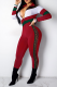 Red Casual Solid Split Joint Turndown Collar Skinny Jumpsuits