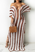 White Fashion Pierced Split Joint See-through Slit Halter Short Sleeve Dress