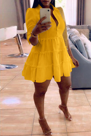Yellow Fashion Casual Solid Turndown Collar Shirt Dress