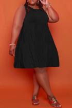 Black Casual Solid Split Joint O Neck A Line Plus Size Dresses