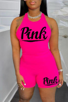 Rose Red Casual Sportswear Letter Print Vests O Neck Sleeveless Two Pieces