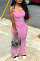 Pink Sexy Solid Split Joint Spaghetti Strap Pencil Skirt Dresses