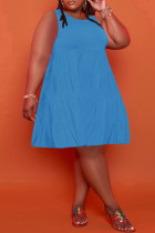 Blue Casual Solid Split Joint O Neck A Line Plus Size Dresses