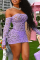 Purple Sexy Solid Lace Off the Shoulder Pencil Skirt Dresses