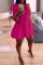 Rose Red Fashion Casual Solid Turndown Collar Shirt Dress
