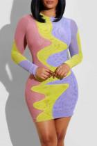 Colour Fashion Casual Print Split Joint O Neck Long Sleeve Dresses