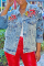 Blue Casual Print Split Joint Turndown Collar Straight Denim Jacket
