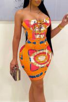 Tangerine Sexy Print Split Joint Frenulum Strapless Pencil Skirt Dresses