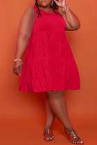 Red Casual Solid Split Joint O Neck A Line Plus Size Dresses