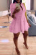 Pink Fashion Casual Solid Turndown Collar Shirt Dress