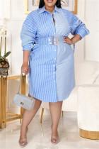 Light Blue Fashion Casual Plus Size Striped Print Without Belt Turndown Collar Shirt Dress