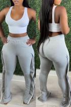 Grey Fashion Casual Patchwork Slit Regular High Waist Trousers