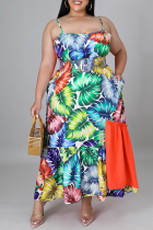 Orange Casual Print Split Joint Spaghetti Strap Cake Skirt Plus Size Dresses