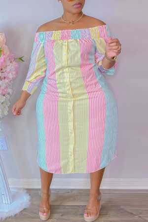 Pink Yellow Fashion Casual Plus Size Striped Print Backless Off the Shoulder Long Dress