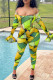Green Fashion Sexy Print See-through Backless Off the Shoulder Long Sleeve Two Pieces