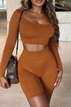 Brown Fashion Casual Solid Basic O Neck Long Sleeve Two Pieces