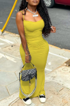 Yellow Sexy Solid Split Joint Spaghetti Strap Pencil Skirt Dresses