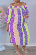 Purple Fashion Casual Plus Size Striped Print Backless Off the Shoulder Long Dress