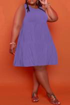 Purple Casual Solid Split Joint O Neck A Line Plus Size Dresses