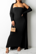 Black Fashion Sexy Solid Cardigan Long Sleeve Two Pieces