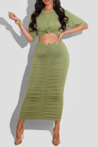 Green Sexy Casual Solid Hollowed Out Fold O Neck Short Sleeve Dress