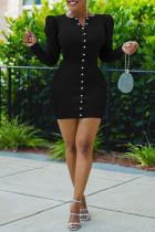 Black Fashion Casual Solid Split Joint V Neck Long Sleeve Dresses