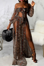 Snake Print Sexy Animal Print Draw String Off the Shoulder Long Sleeve Two Pieces